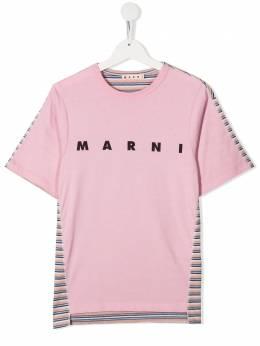 Marni Kids полосатая футболка с логотипом M002RHM00HU