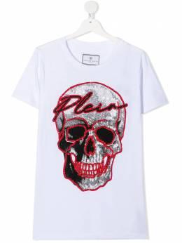 Philipp Plein Junior футболка с логотипом из страз A20CBTK1048PTE003N