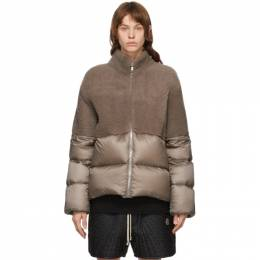 Rick Owens Taupe Moncler Edition Down Coyote Jacket MU20F0003 A0161