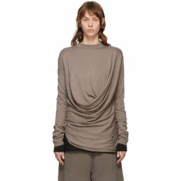 Rick Owens Taupe Moncler Edition Cashmere Drapefront Sweater MU20F0018 A9453