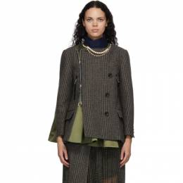 Sacai Khaki Houndstooth Necklace Jacket 20-05330