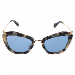 Miu Miu Sand Havana/ Blue Mirrored SMU 10N Cat Eye Sunglasses 350603