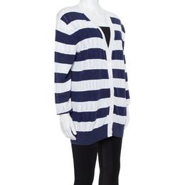 Kenzo Navy Blue Striped Logo Patterned Knit Cardigan S 350504