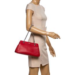 Giorgio Armani Red Leather Chain Shoulder Bag 349851