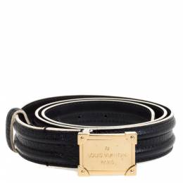 Louis Vuitton Black Leather Logo Square Buckle Belt 85CM 349627