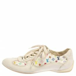 Louis Vuitton White Leather And Multicolor Monogram Canvas Lace Up Sneakers Size 38 350528
