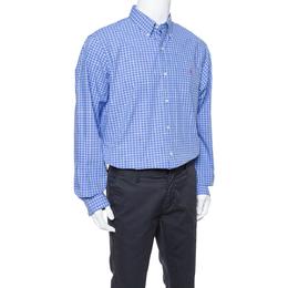 Ralph Lauren Blue Checked Cotton Classic Fit Shirt XL 350537