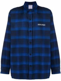 Marcelo Burlon County Of Milan клетчатая рубашка с принтом Tiger CMGA064F20FAB0024525