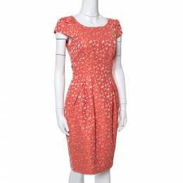 Ch Carolina Herrera Orange Floral Jacquard Sheath Dress S 351031