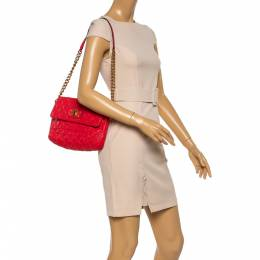 Marc Jacobs Red Quilted Leather Flap Shoulder Bag 350453
