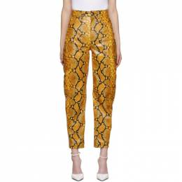 The Attico Yellow Leather Python Slouchy Pants 202WCP11 - EL003 - 03