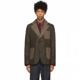 Wales Bonner Brown Two-Tone Judah Jacket MA20TJ04-TWE101D-800