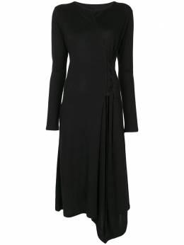 Yohji Yamamoto приталенное платье миди с длинными рукавами FRT06071