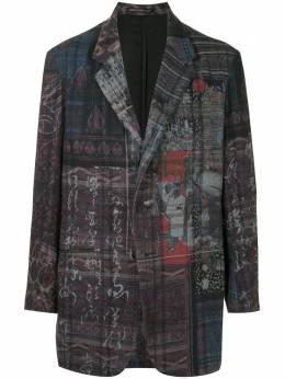 Yohji Yamamoto пиджак с абстрактным принтом HRJ52052