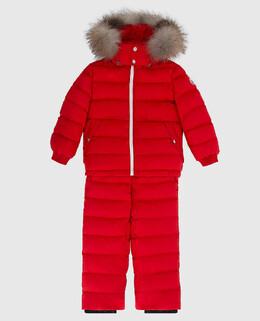 Детский красный пуховой костюм с мехом лисы Moncler Enfant 2300006392580