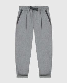 Детские серые брюки из шерсти Brunello Cucinelli 2300006400667