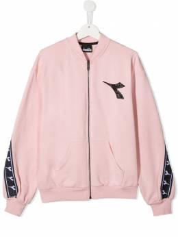 Diadora Junior куртка с логотипом и контрастной полоской 026308