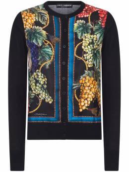 Dolce&Gabbana Cardigan in silk cashmere and twill with grape print FX825TJAM6B