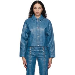 Saks Potts Blue Leather Diablo Jacket 54014