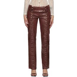 Saks Potts Burgundy Leather Christina Trousers 55014