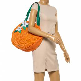 Kate Spade Orange Straw/Canvas and Leather Spice Things Up Shoulder Bag 351826