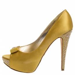 Gina Yellow Satin Crystal Embellished Platform Pumps Size 40 352032
