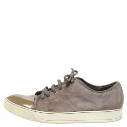 Lanvin Brown/Green Patent And Suede Leather Low Top Sneakers Size 43 352035