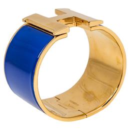 Hermes Clic Clac H Blue Enamel Gold Plated Wide Bracelet PM 350346
