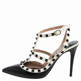 Valentino Black/White Leather Rockstud Pointed Toe Ankle Strap Sandals Size 41 352005