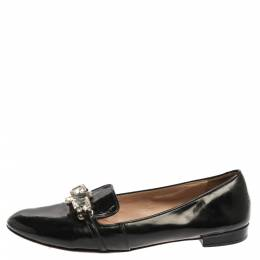 Miu Miu Black Patent Leather Crystal Embellished Ballet Flats Size 40 352086