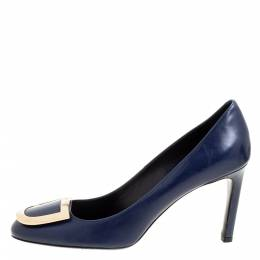 Roger Vivier Blue Leather Round Toe Pumps Size 38 351576