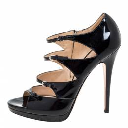 Casadei Black Patent Leather Strappy Platform Sandals Size 39.5 351987