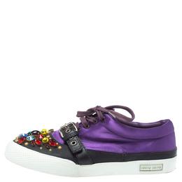 Miu Miu Purple Satin Crystal And Stud Cap Toe Embellished Buckle Detail Sneakers Size 40 351997
