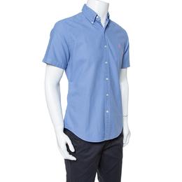 Ralph Lauren Blue Cotton Short Sleeve Slim Fit Shirt M 351503