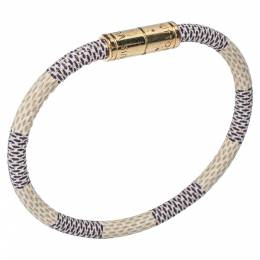 Louis Vuitton Damier Azur Canvas Gold Tone Keep It Bracelet 351055