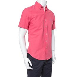 Ralph Lauren Coral Pink Cotton Short Sleeve Slim Fit Shirt M 351496