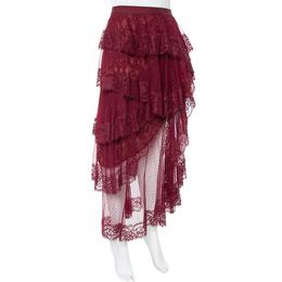 Elie Saab Burgundy Plumetis Tulle Tiered & Ruffled Skirt S 351716