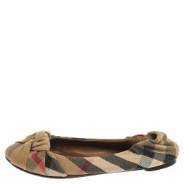 Burberry Beige Canvas Nova Check Knotted Bow Ballet Flats Size 38 352025