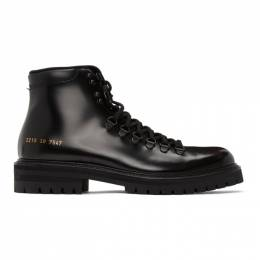 Common Projects Black Leather Hiking Boots 2219