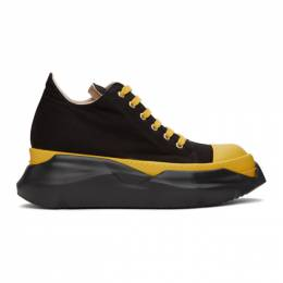 Rick Owens DRKSHDW Black and Yellow Abstract Sneakers DU20F1842 TWP