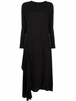Yohji Yamamoto платье с карманами на молнии и асимметричным подолом NRD042011