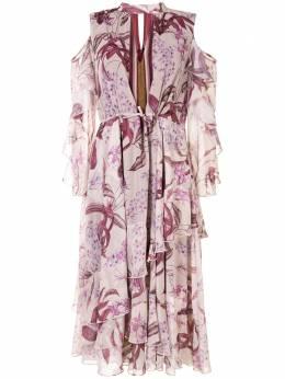 Marchesa Notte платье с открытыми плечами и принтом N42DMP2045
