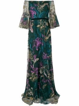 Marchesa Notte вечернее платье на одно плечо с вышивкой N42G2096