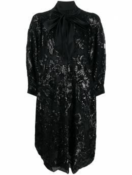 Gianluca Capannolo платье-рубашка оверсайз с пайетками и бантом 20IA1166650
