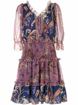 Marchesa Notte платье с цветочным принтом и присборенной талией N42DCP2037