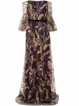 Marchesa Notte платье с открытыми плечами и цветочной вышивкой N42G2096