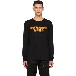Mastermind World Black Drip Logo Long Sleeve T-Shirt MW20S05-TS058-018