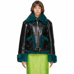 Dries Van Noten Black and Green Leather Sherpa Jacket LENTO