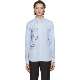 Comme Des Garcons Homme Deux Blue and White Disney Edition Striped Printed Shirt DF-B022-051