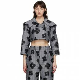 Tricot Comme Des Garcons Black and Grey Floral Cropped Jacquard Jacket TF-J022-051